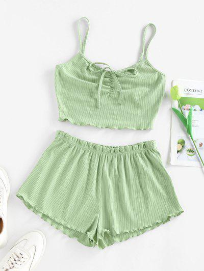 ZAFUL Ribbed Lettuce Tie Cami Two Piece Shorts Set - Avocado Green M