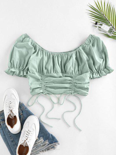 ZAFUL Cinched Ruffle Puff Sleeve Crop Blouse - Green S
