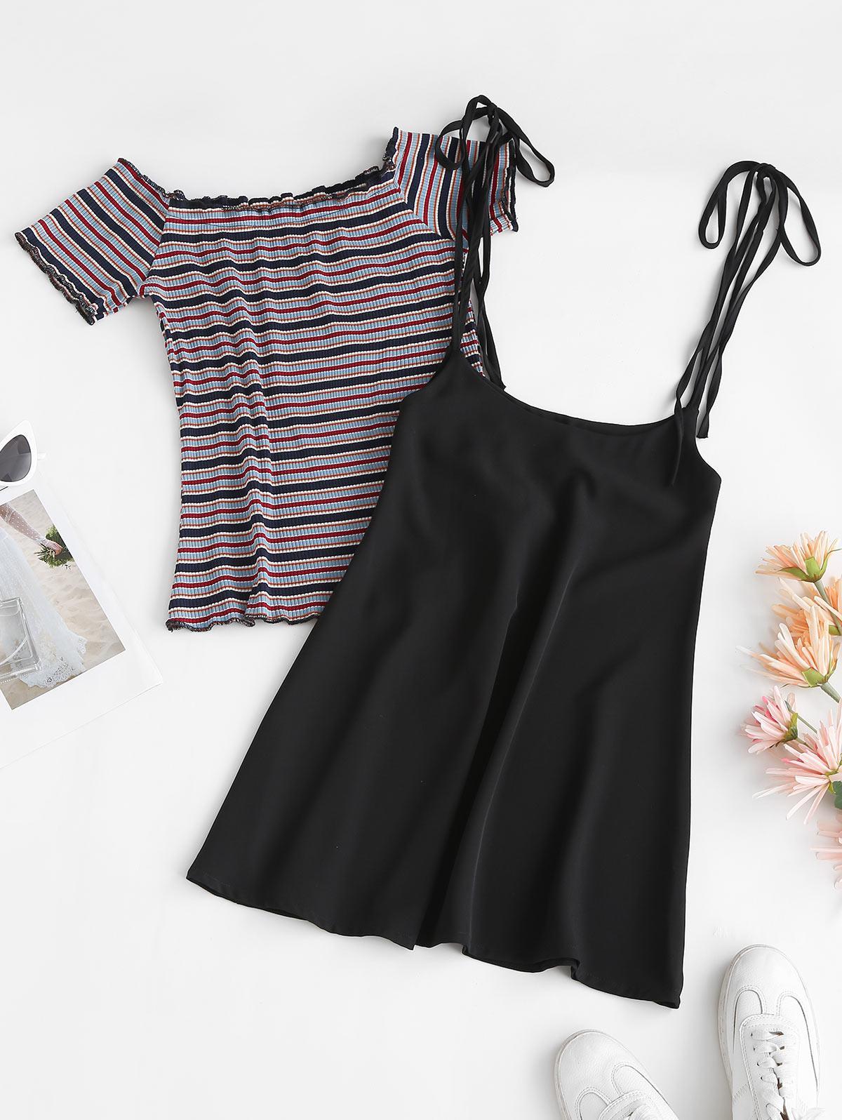 Ribbed Stripes Tee and Tie Shoulder Suspender Skirt Set