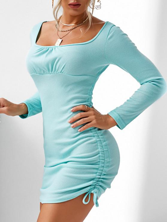 latest Ribbed Cinched Side Ruched Bodycon Dress - BLUE L