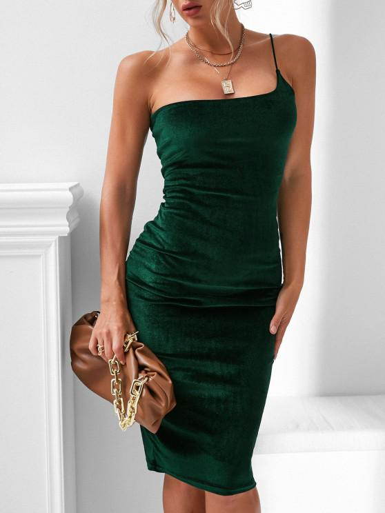 lady One Shoulder Velvet Bodycon Dress - HAZEL GREEN L