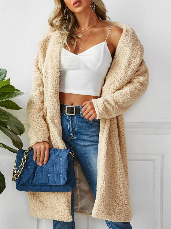 shop Open Front Faux Shearling Longline Teddy Coat - APRICOT M