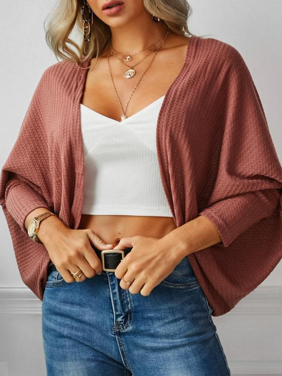 outfit Open Front Textured Dolman Sleeve Cardigan - DEEP RED M