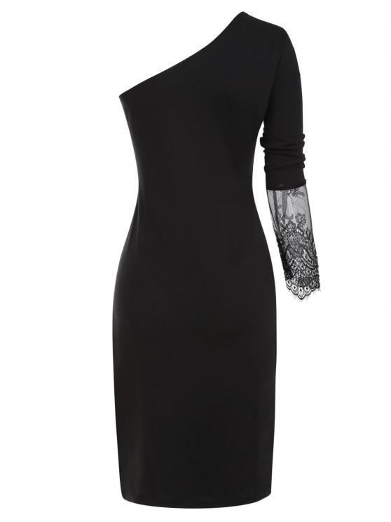 Lace Insert Side Slit One Shoulder Dress - Black S | ZAFUL