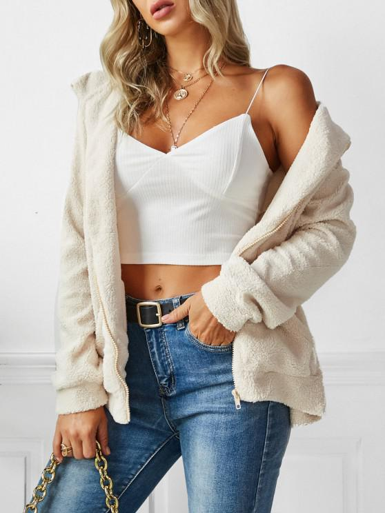 Hooded Zip Up Faux Shearling Pockets Coat - ضوء الكاكي L