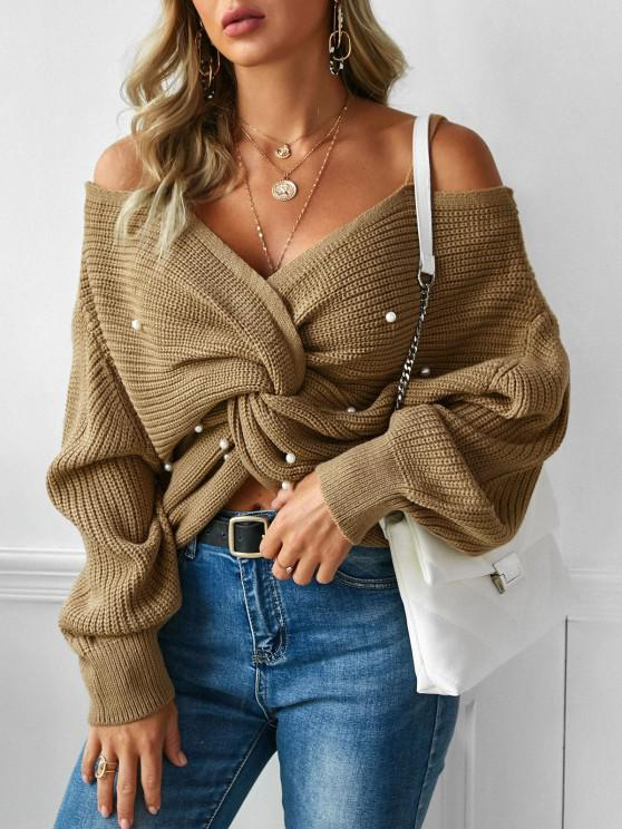 women ZAFUL Faux Pearl Embellished Twisted Cold Shoulder Sweater - COFFEE M