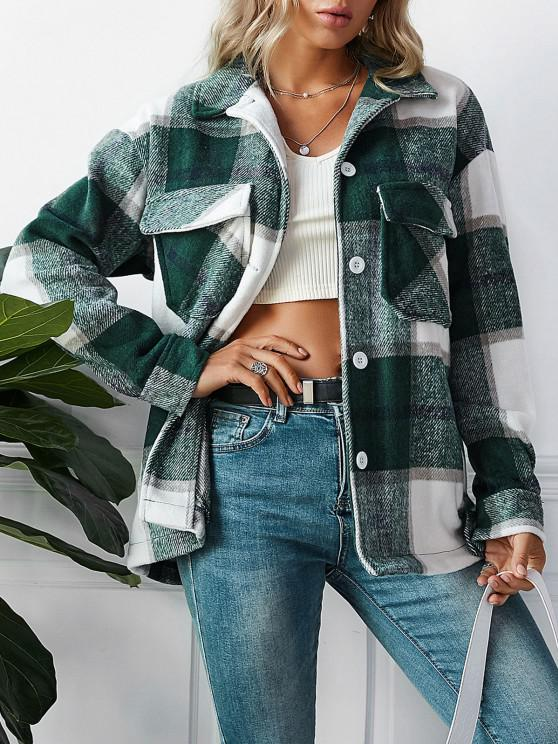 sale ZAFUL Plaid Pockets Coat - GREENISH BLUE S
