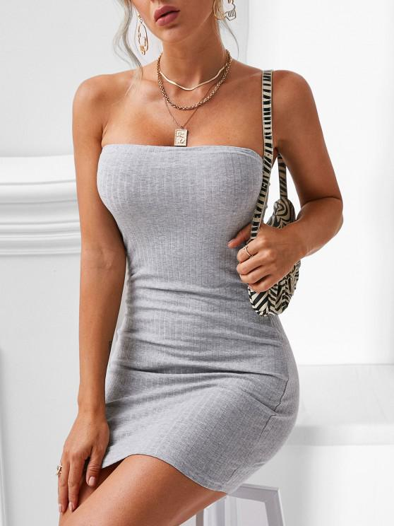 latest Ribbed Bodycon Tube Dress - GRAY M