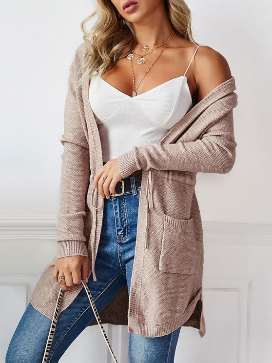 outfit Longline Hooded Drawstring Pockets Cardigan - KHAKI ONE SIZE