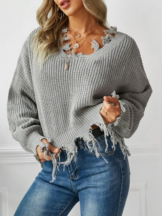 lady Loose Ripped V Neck Sweater - GRAY ONE SIZE