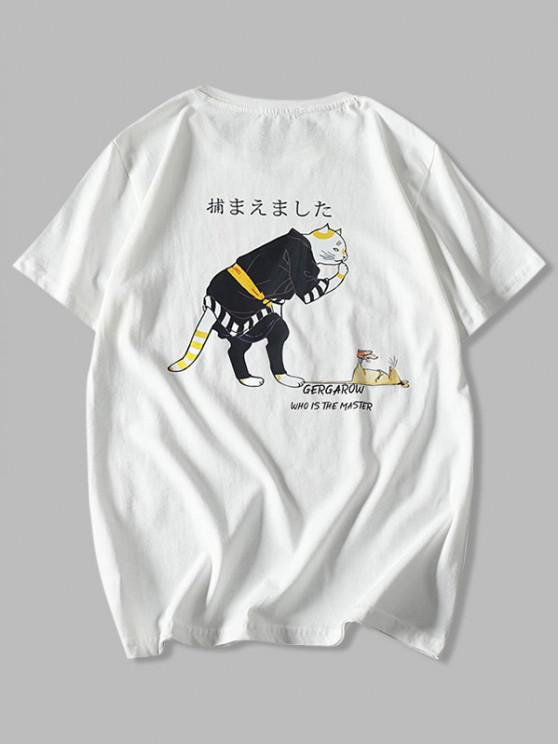 Cartoon Cat and Mouse Graphic Basic T-shirt - أبيض M
