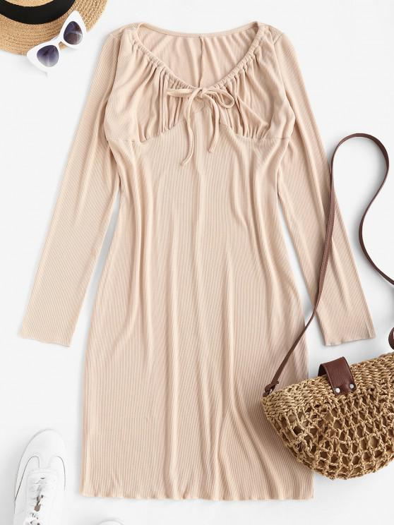 Long Sleeve Drawstring Collar Ribbed Mini Dress - القهوة الخفيفة M
