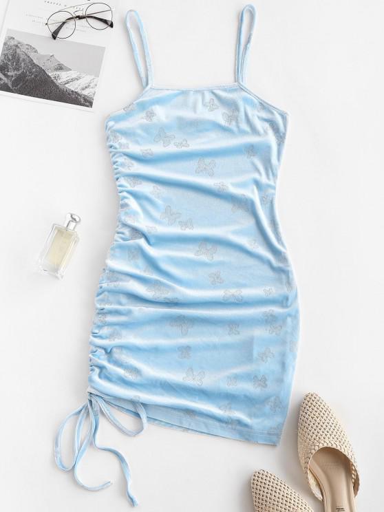 fancy ZAFUL Sparkly Butterfly Velvet Cinched Mini Dress - LIGHT BLUE L