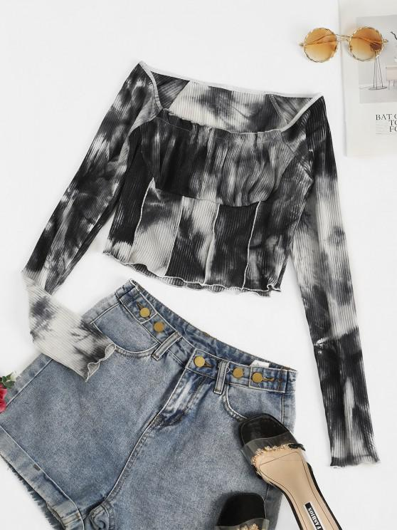 outfit ZAFUL Ribbed Tie Dye Ruched Bust Crop T-shirt - MULTI-A XL