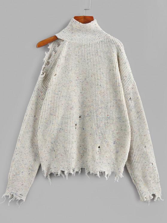 fancy ZAFUL High Neck Distressed Sweater - MULTI L