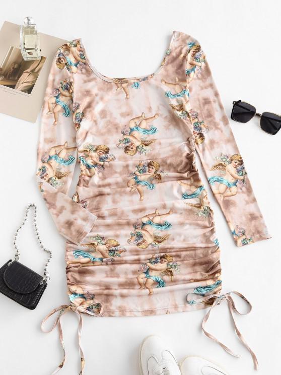 ZAFUL Tie Dye Renaissance Angel Print Ruched Bodycon Dress - القهوة الخفيفة L