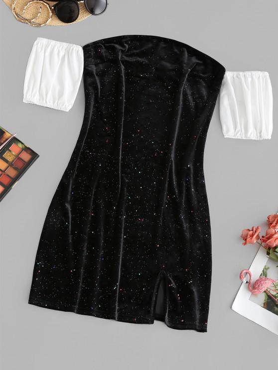 fashion ZAFUL Sparkly Confetti Velvet Off Shoulder Colorblock Dress - BLACK S