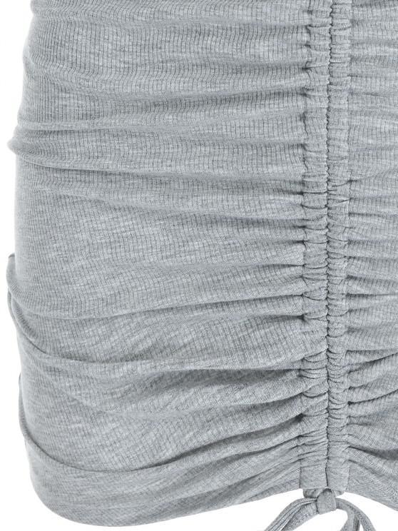 ZAFUL Ribbed Cinched Bodycon Dress - Ash Gray L