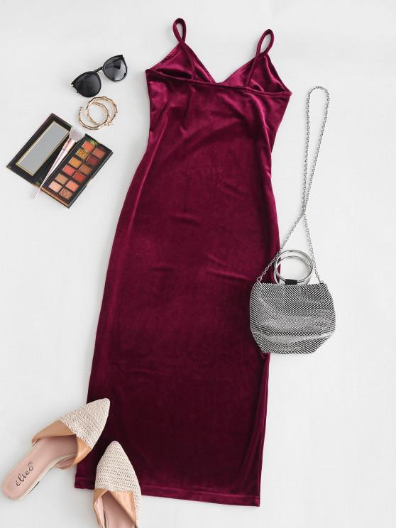hot Open Back Slit Velvet Midi Dress - DEEP RED ONE SIZE