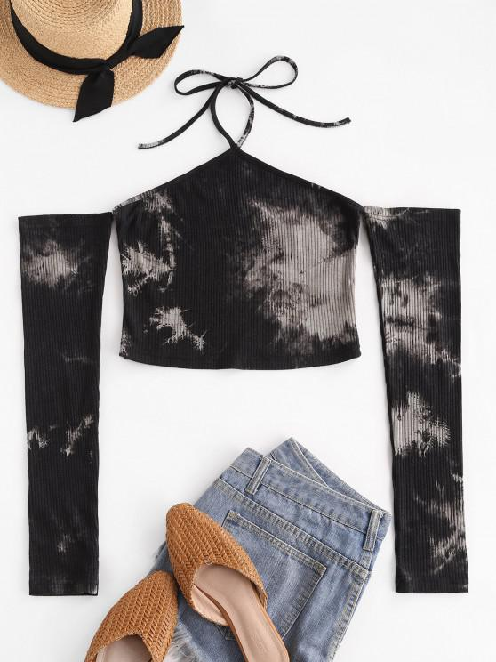 women Tie Dye Halter Ribbed Crop T-shirt - BLACK L