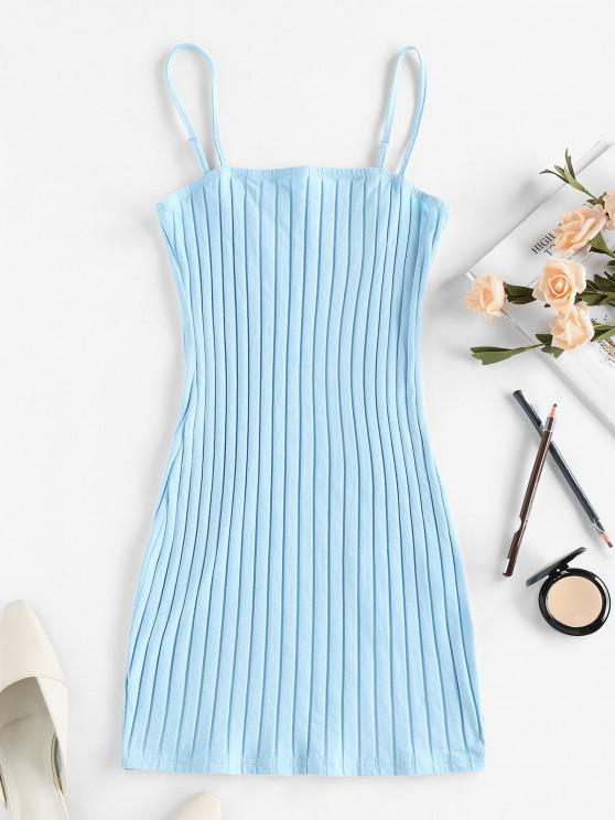 ladies ZAFUL Ribbed Open Back Bodycon Dress - LIGHT BLUE S