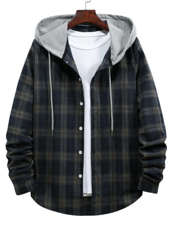 Plaid Print Hooded Drawstring Shirt - طالبا الأزرق S