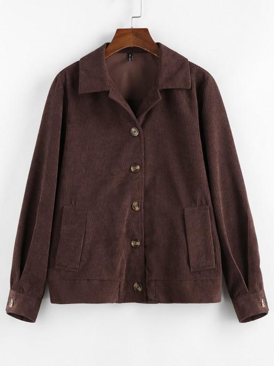 women's ZAFUL Ribbed Buttons Corduroy Jacket - DEEP COFFEE M