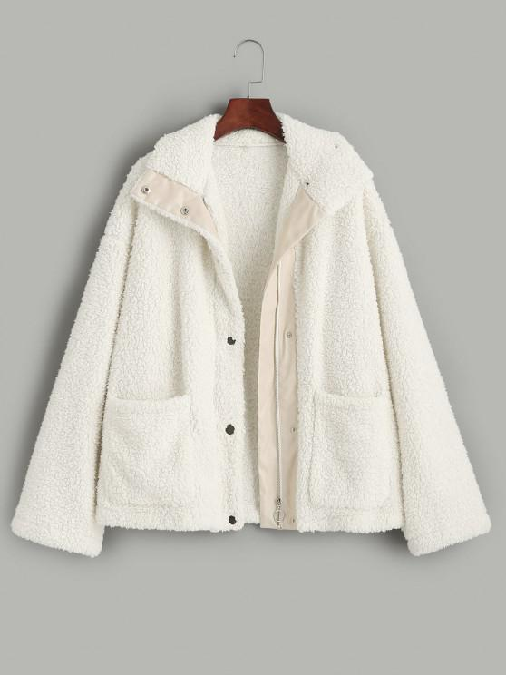 ladies ZAFUL Faux Shearling Snap Button Zip Teddy Coat - LIGHT KHAKI S