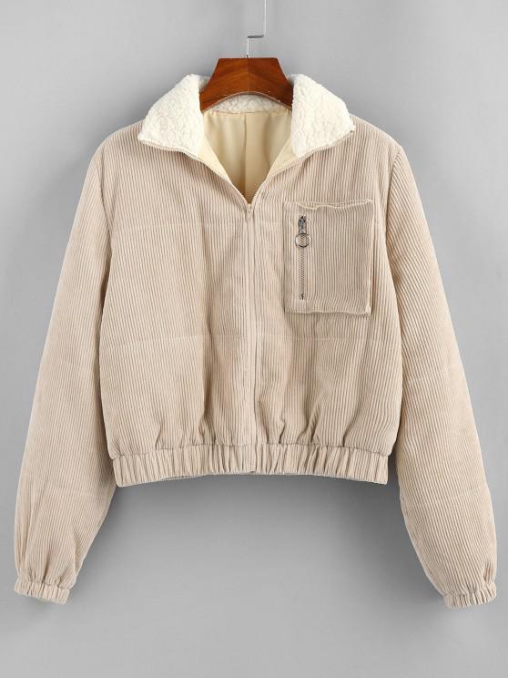 hot ZAFUL Zip Corduroy Teddy Collar Pocket Coat - LIGHT COFFEE M