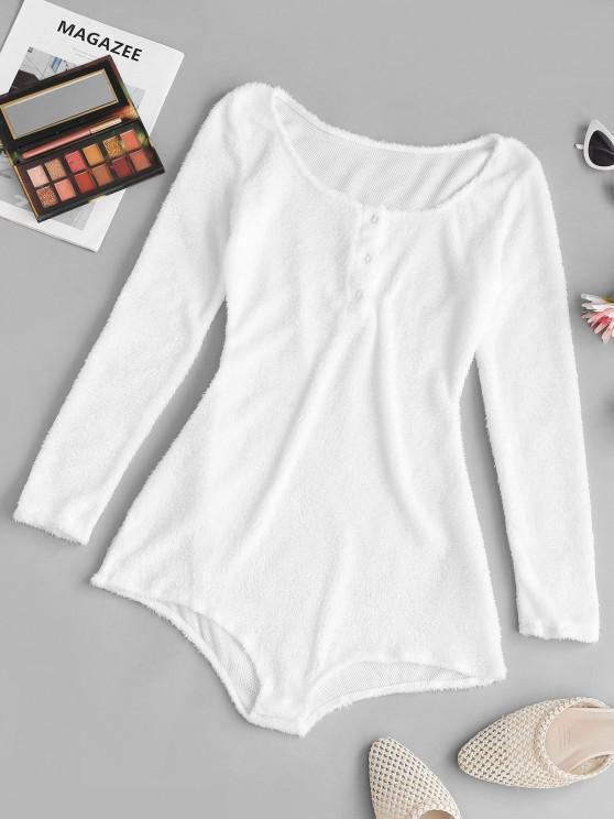online Button Front Fluffy Short Onesie Pajamas - WHITE M