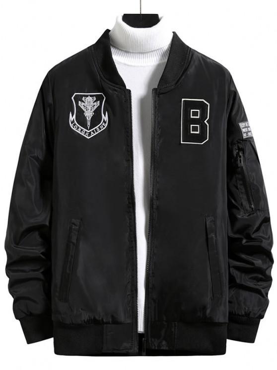 online Zip Up Embroidered Letter Applique Padded Jacket - BLACK XS