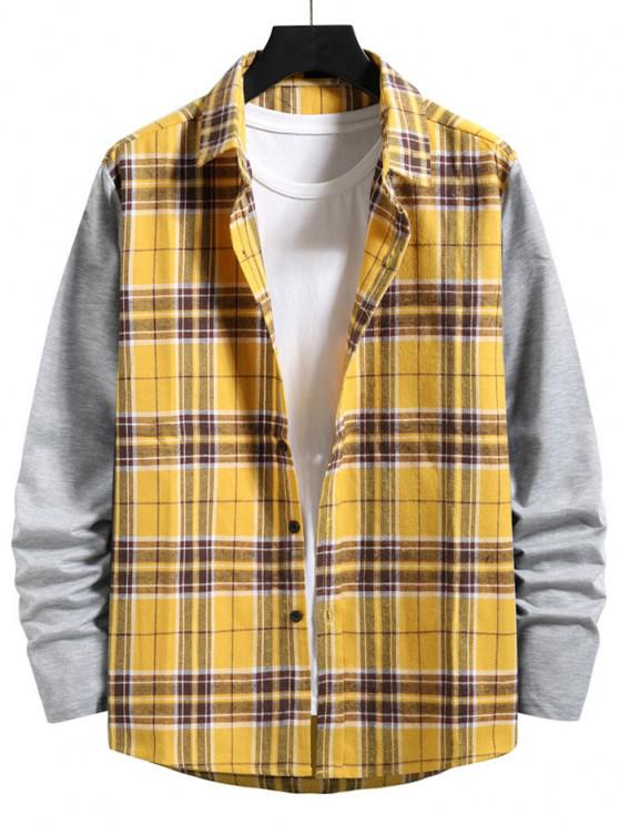 sale Plaid Print Button Up Casual Shirt - YELLOW L