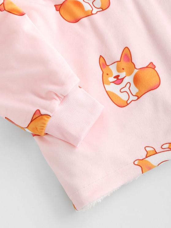 Lounge Drop Shoulder Fox Print Kangaroo Pocket Blanket Hoodie - Light Pink | ZAFUL