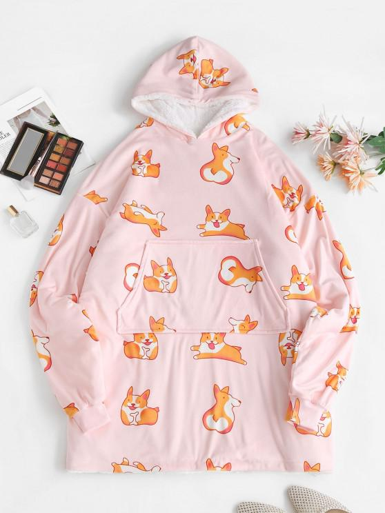 shop Lounge Drop Shoulder Fox Print Kangaroo Pocket Blanket Hoodie - LIGHT PINK ONE SIZE