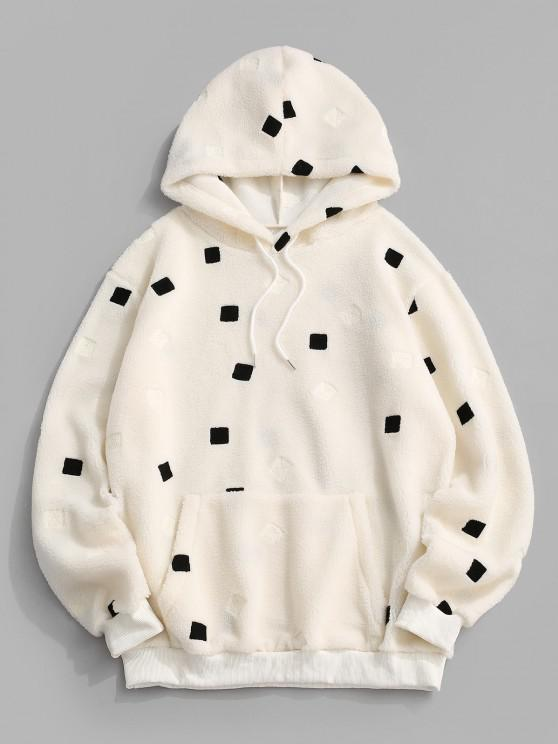 Front Pocket Contrast Square Teddy Hoodie - أبيض S