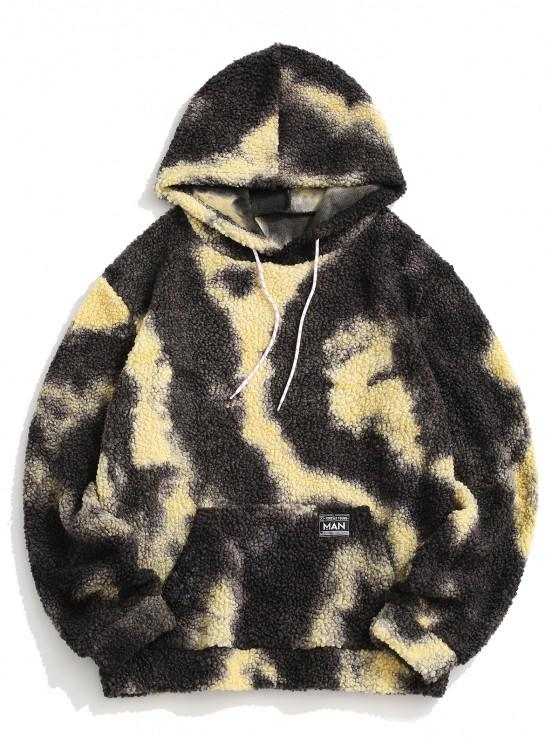 chic Tie Dye Patched Teddy Hoodie - GRAY S