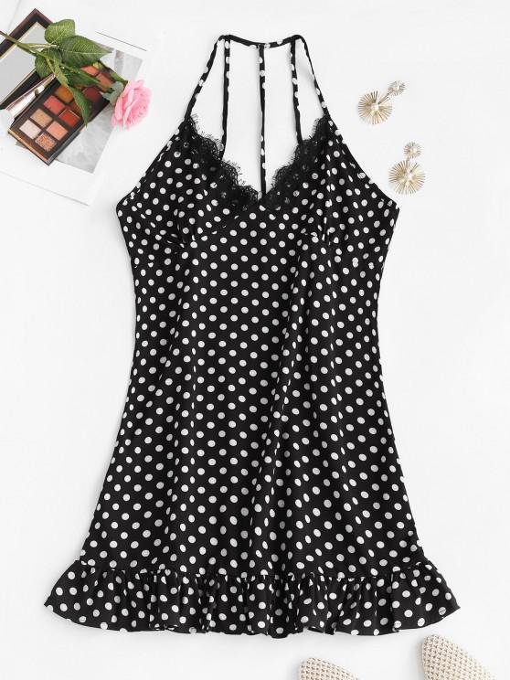 new Polka Dot Eyelash Lace Trim Strappy Back Nightdress - BLACK S