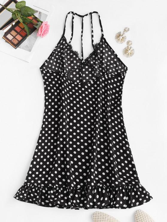 Polka Dot Eyelash Lace Trim Strappy Back Nightdress - Black S | ZAFUL