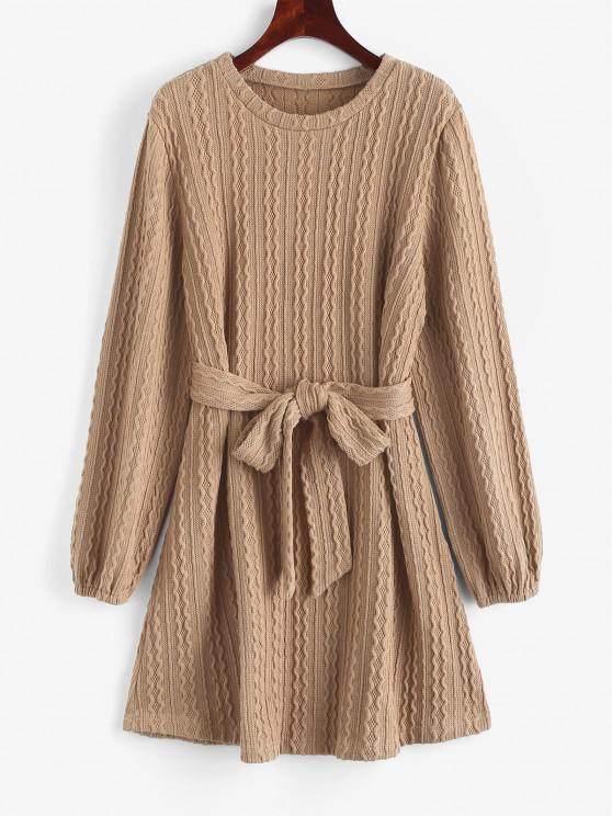unique Long Sleeve Cable Knit Belted Sweater Dress - LIGHT COFFEE M