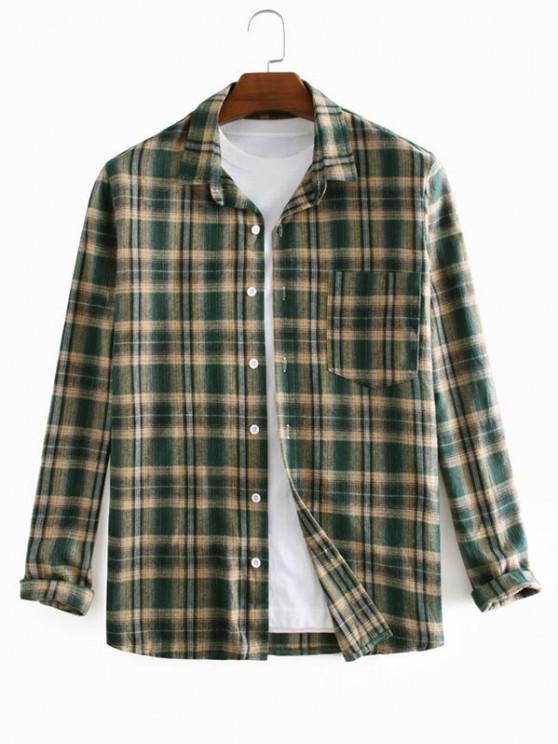 Plaid Printed Long Sleeve Pocket Shirt - ديب غرين M