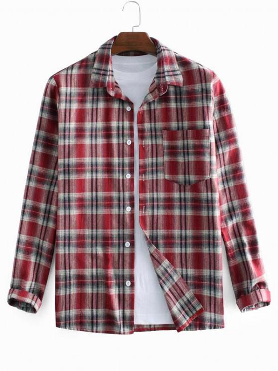 Plaid Printed Long Sleeve Pocket Shirt - أحمر L