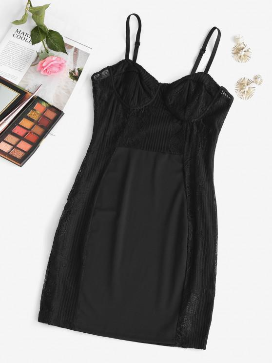 affordable Bustier Lace Panel Sleep Chemise - BLACK S