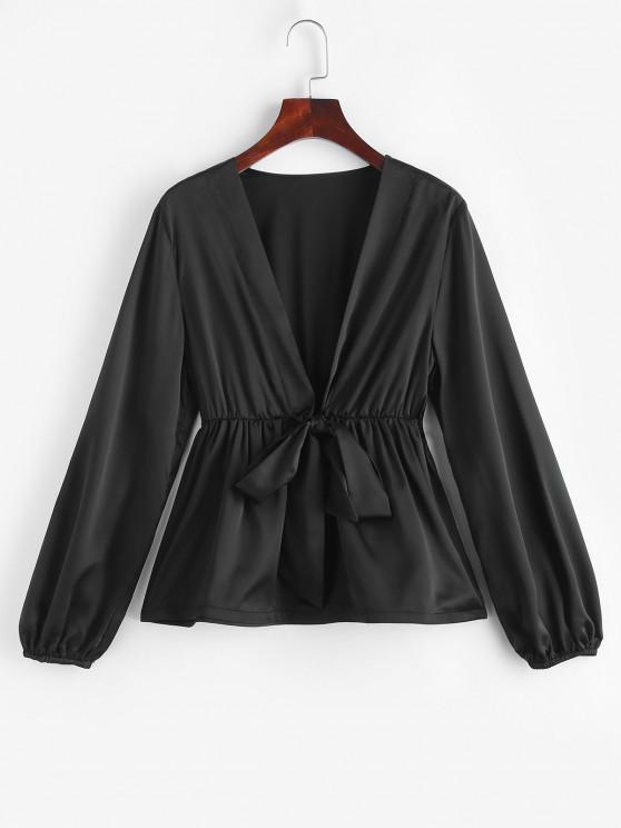unique ZAFUL Tie Front Silky Peplum Hem Blouse - BLACK M