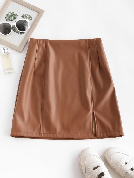 women's ZAFUL Front Slit Faux Leather Mini Skirt - LIGHT COFFEE L