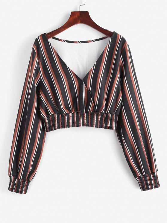 ZAFUL Mixed Stripes Smocked Panel Cropped Blouse - أسود S