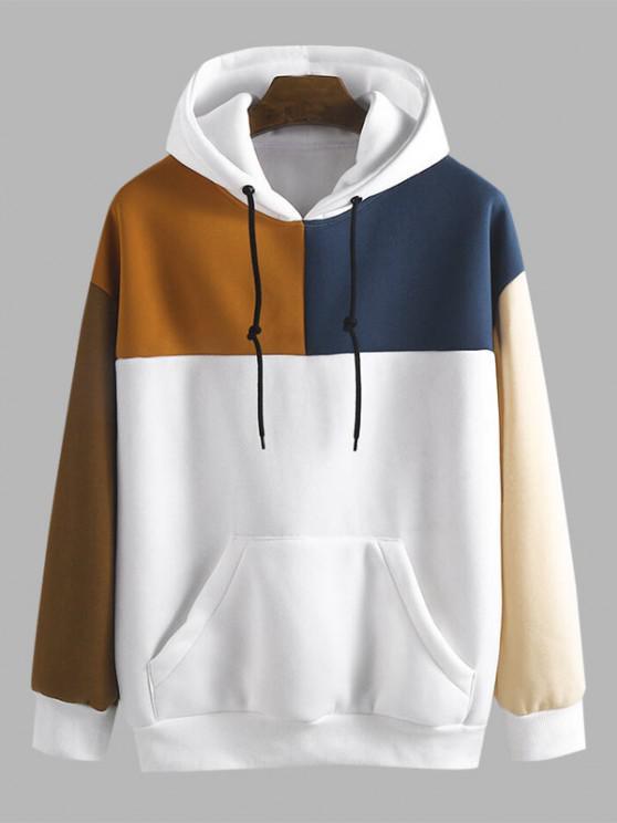lady Drop Shoulder Contrast Fleece Hoodie - WHITE 2XL
