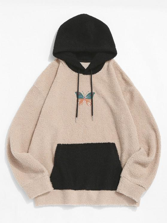 chic Colorblock Butterfly Embroidery Teddy Hoodie - LIGHT COFFEE 2XL