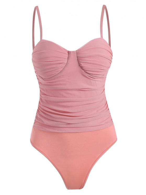 women's Mesh Ruched Padded Cami Bodysuit - LIGHT PINK L