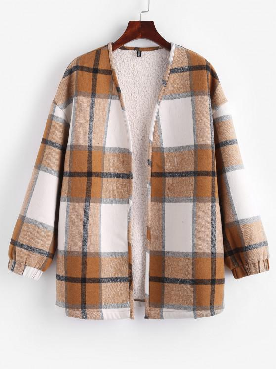 affordable ZAFUL Plaid Faux Shearling Teddy Lined Tunic Coat - DEEP YELLOW S