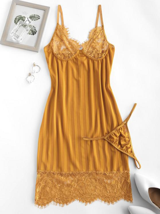 best Lace Panel Shadow Striped Slinky Chemise Set - DEEP YELLOW L